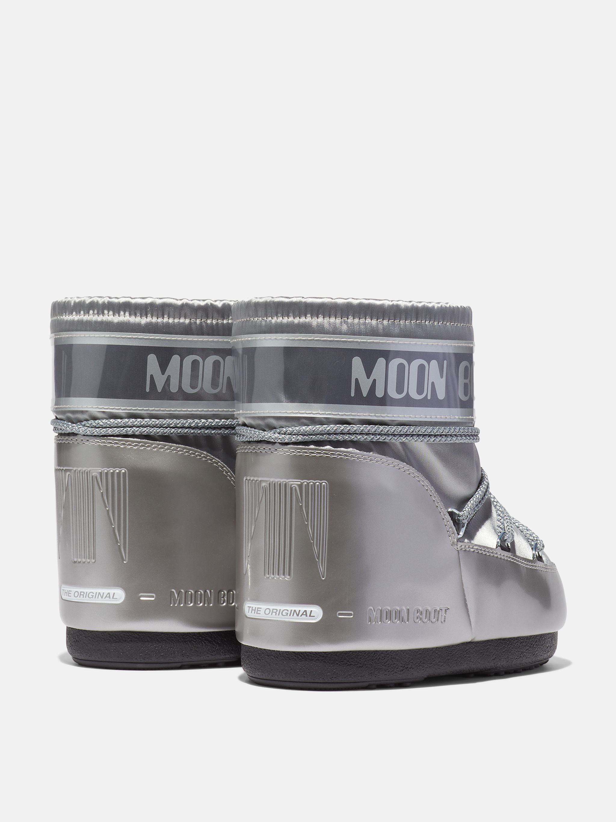 ICON LOW GLANCE SILVER SATIN BOOTS